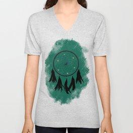 Dreamcatcher crow: Green background Unisex V-Neck