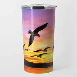 Seagull Sunset Travel Mug