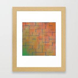 Teal & Coral Tilles Framed Art Print
