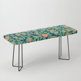 Oranges and Leaves Pattern - Navy Blue Bench