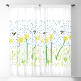 Honey Bees Love Flowers Blackout Curtain