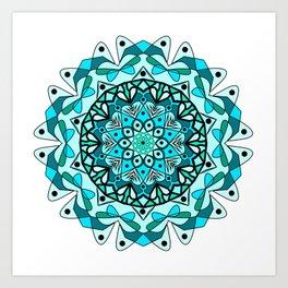 dream catcher blue mandala Art Print