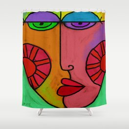 Colorful Abstract Digital Painting of a Face Shower Curtain