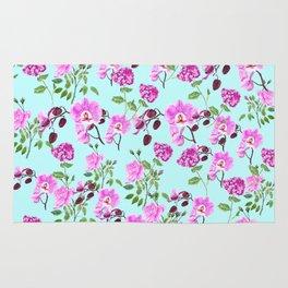 pink purple flowers watercolor painting Rug
