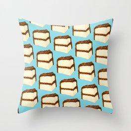 Chocolate Cake Slice Pattern - Blue Throw Pillow