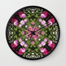 Gerbera And Ranunculus Kaleidoscope Wall Clock