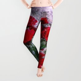 African Daisies Red With Wall Watercolor Leggings