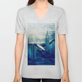 Blue Whale in NYC Unisex V-Neck