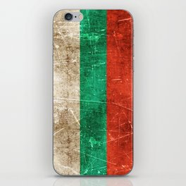 Vintage Aged and Scratched Bulgarian Flag iPhone Skin