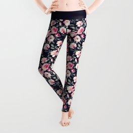 Moody Vintage Rose Chintz in Peach Pink Leggings