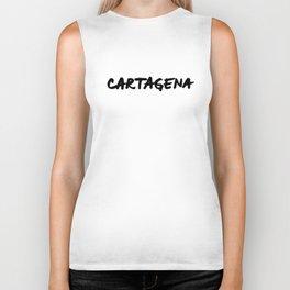 'Cartagena' Colombia Hand Letter Type Word Black & White Biker Tank