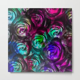 closeup rose texture pattern abstract background in red purple blue Metal Print