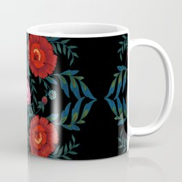 Flowers in Red and Blue Coffee Mug