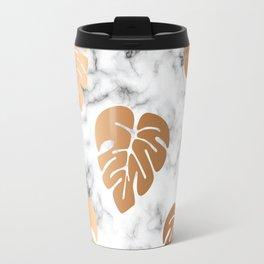 Golden Monstera on Marble Pattern 048 Travel Mug