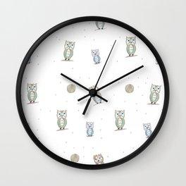 Owl Fun Pattern #1 #drawing #decor #art #society6 Wall Clock