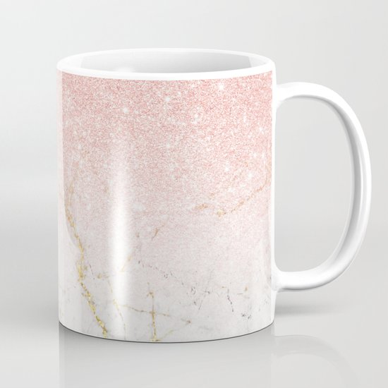 Rose Gold Glitter and gold white Marble by mydream