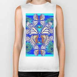 TURQUOISE & CREAM COLORED BUTTERFLIES  BLUE PEACOCK ART Biker Tank