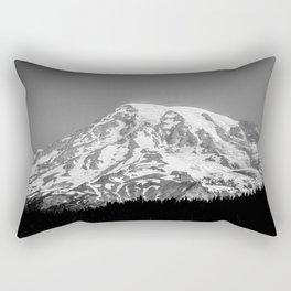 Mount Rainier Black and White Rectangular Pillow