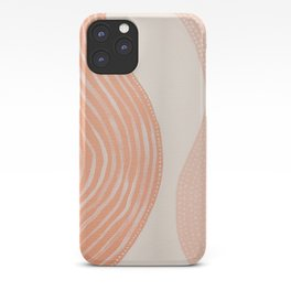 Abstract painting 7 - lines, shapes and dots in orange peach and beige tones by Ingrid Beddoes iPhone Case