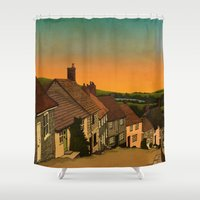 postcard Shower Curtains featuring Daybreak by Megs stuff