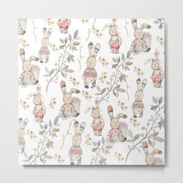 Cute Easter Bunnies with Watercolor Flowers,Sprigs and Leaves Metal Print