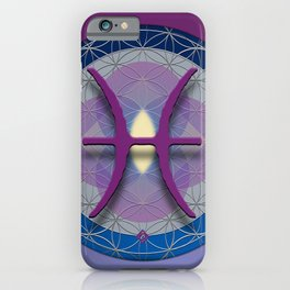PISCES Flower of Life  Astrology Design iPhone Case