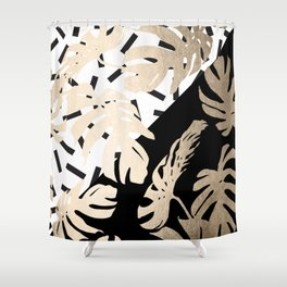 Simply Tropical Midnight Black Memphis Palm Leaves Shower Curtain