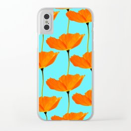 Poppies On A Turquoise Background #decor #society6 #buyart Clear iPhone Case