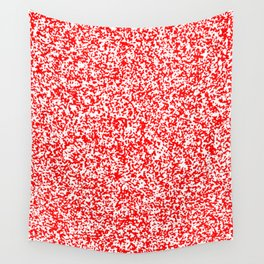 Tiny Spots - White and Red Wall Tapestry