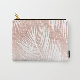 Modern trendy white palm tree leaf pattern on rose gold glitter blush pink Carry-All Pouch