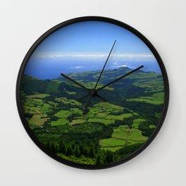 Green coastal landscape Wall Clock