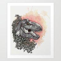 dinosaur Art Prints featuring Dinosaur by Gemma Goode