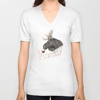 moose V-neck T-shirts featuring moose by dogooder