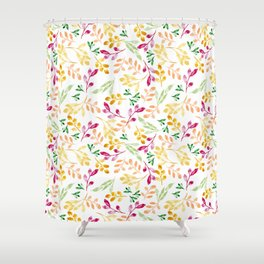 Fall Watercolor Leaves Shower Curtain