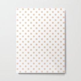 Small Polka Dots - Pastel Brown on White Metal Print