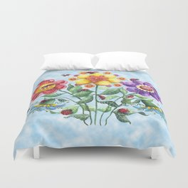 Ladybug Playground on a Summer Day Duvet Cover