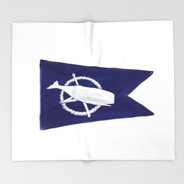 Nantucket Blue and White Sperm Whale Burgee Flag Hand-Painted Throw Blanket