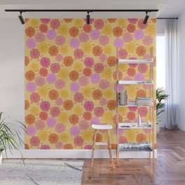 Hibiscus Hawaiian Flowers in Pinks and Corals on Yellow Wall Mural