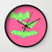 bats Wall Clocks featuring Bats by idrewthestars