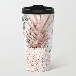 Rose Gold Pineapple on Black and White Marble Metal Travel Mug