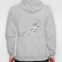 Cute Astronaut riding an unicorn on the moon with craters catching stars with a net Hoody