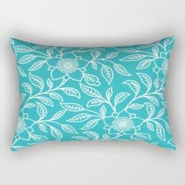 Aquamarine Lace Floral Rectangular Pillow