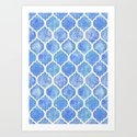 Cornflower Blue Moroccan Hand Painted Watercolor Pattern by micklyn