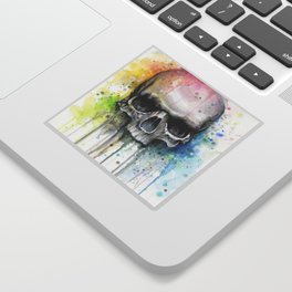 Skull Rainbow Watercolor Sticker