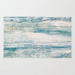 Sea Foam Blue Acrylic Textured Painting Rug