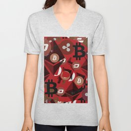 Сryptocurrencies money pattern Unisex V-Neck