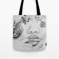 Rihanna - Shine bright like a diamond 'Shhh..' lips - Ashley Rose Tote Bag