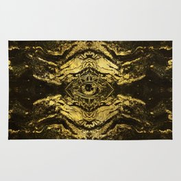 All Seeing eye golden texture on aged wood Rug