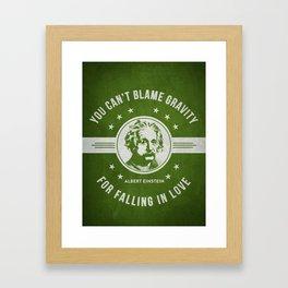 Albert Einstein - Green Framed Art Print