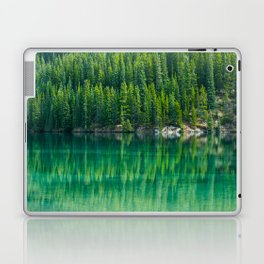 Reflective Green Pine Forest With Green Turquoise Waters Laptop & iPad Skin
